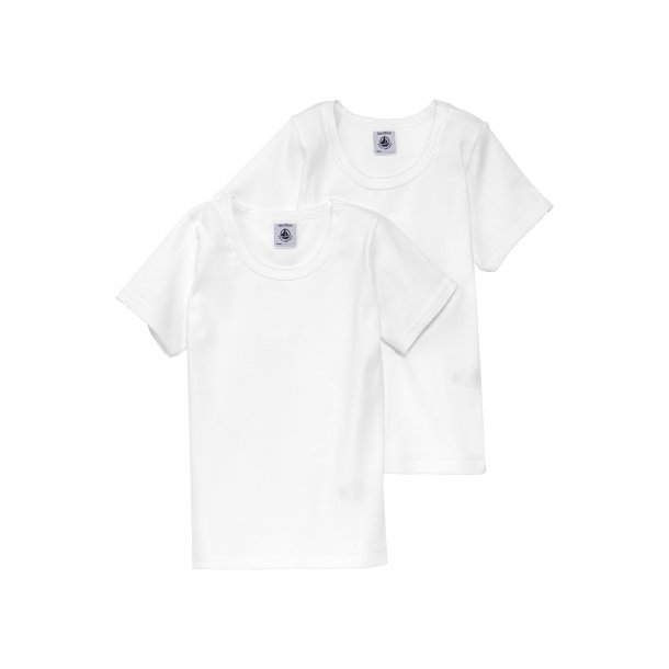 PETIT BATEAU - 2 pack hvide kortærmet t-shirt. Pige. BASIC