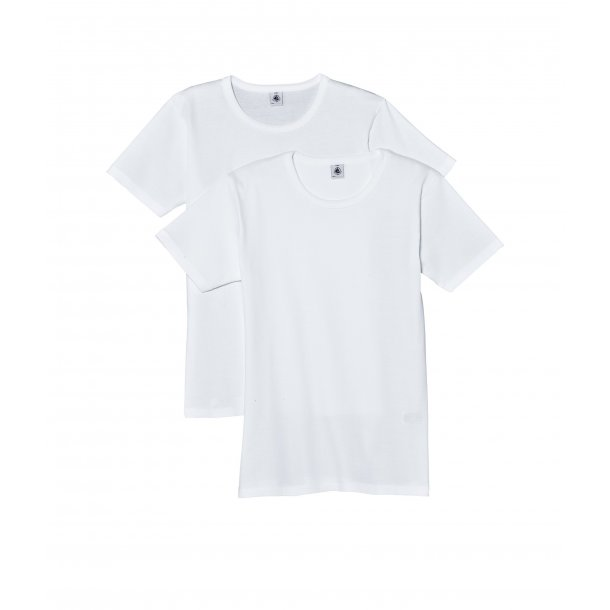 PETIT BATEAU - 2 pack hvide t-shirt. Dreng. BASIC