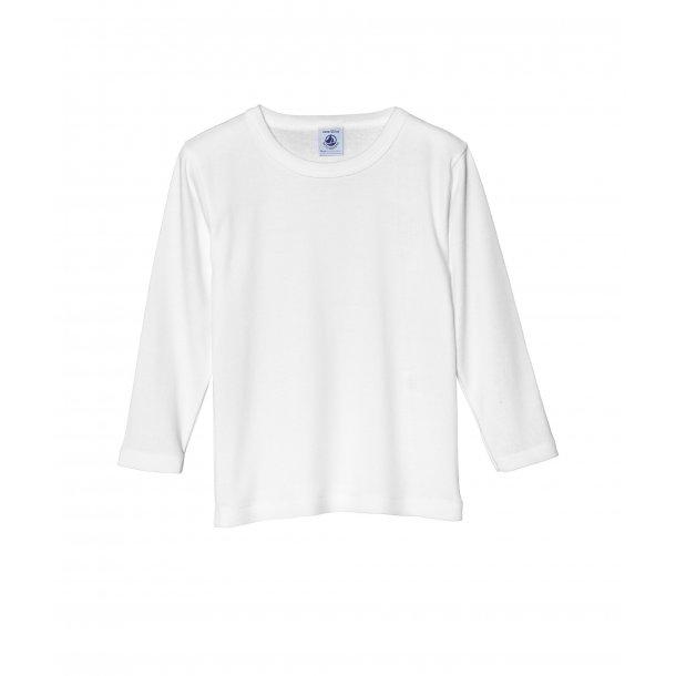PETIT BATEAU - Hvid langærmet bluse. Dreng. BASIC