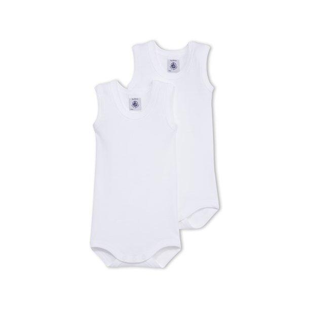 PETIT BATEAU - 2 pack hvide bodyer uden ærmer. BASIC