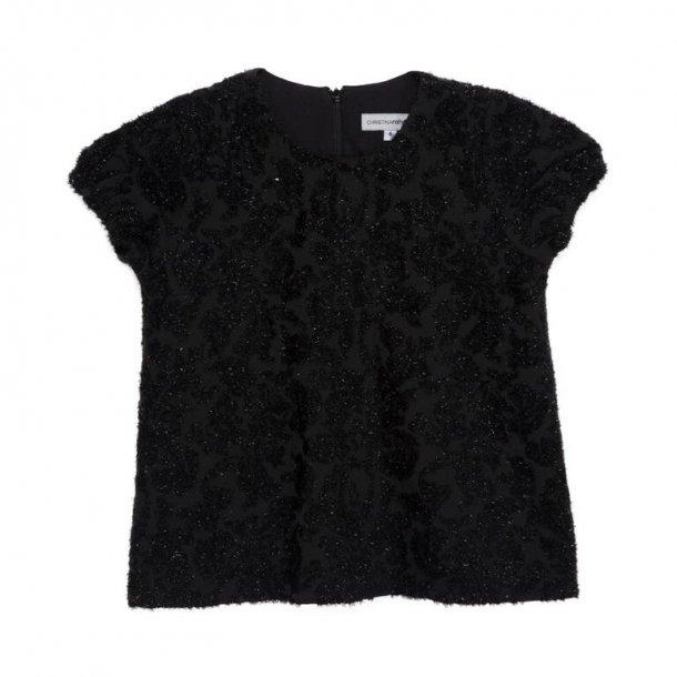 ROHDE - Bluse i sort glimmer-brokade..
