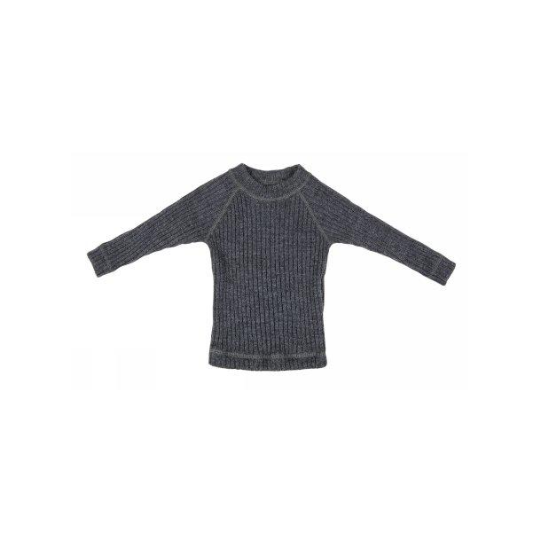 JOHA - Bluse i kraftig grå ribbet blød uld. Basic