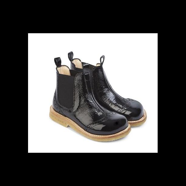ANGULUS - Chelsea støvle i sort lak. Model 6320