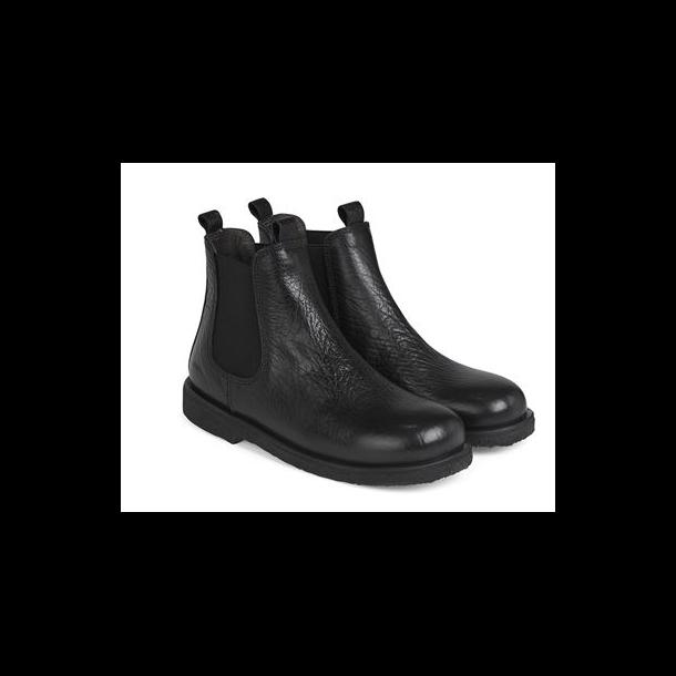 ANGULUS - Chelsea støvle i sort skind. Smal model 7202