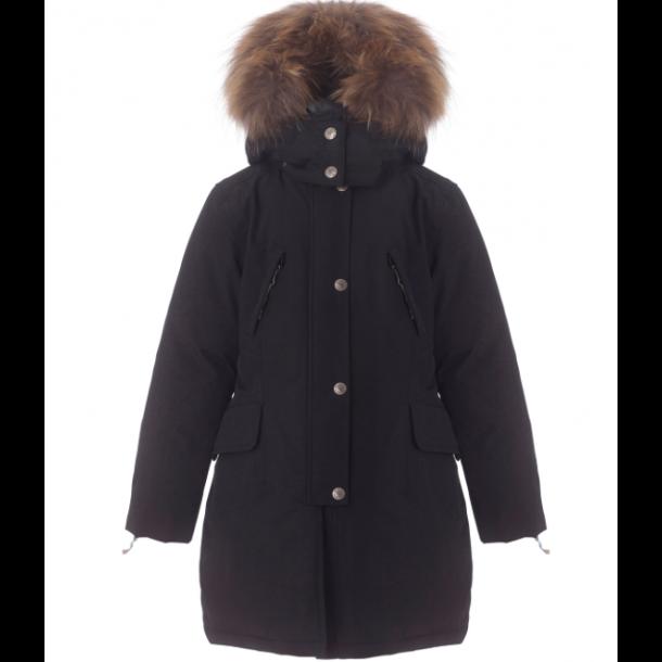 VER DE TERRE - Pige-eskimo frakke i sort med dun og sagafur pels