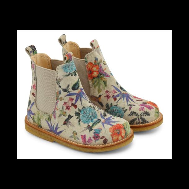 ANGULUS - Chelsea støvle i fugleprint/beige.
