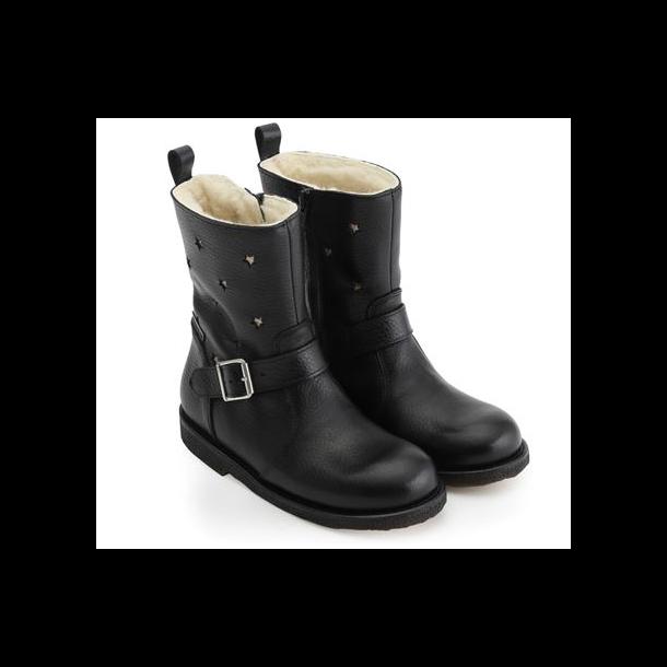 ANGULUS - TEX Støvle med uldfoer i sort med stjerner. Model 2047