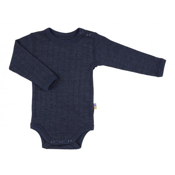 JOHA - Uld-silke body med lange ærmer i blå