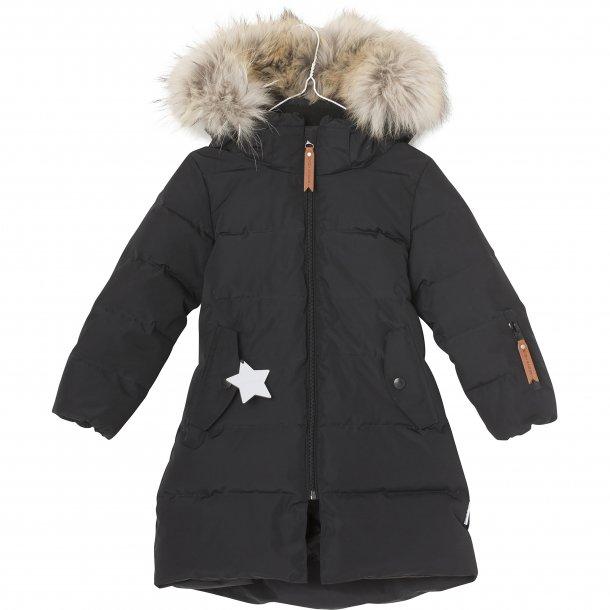 86fd28ecec1 MINIATURE - Vinterfrakke med dun og pels i sort. Deja Fur - Jakker ...