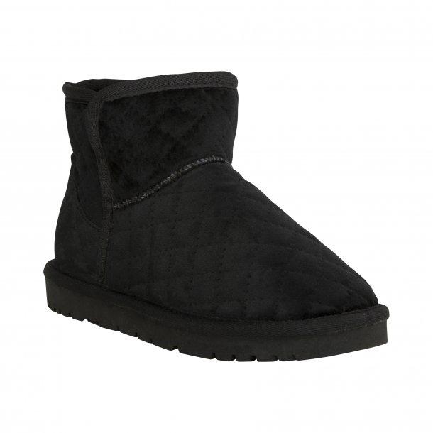 SOFIE SCHNOOR - Bamsestøvler i sort quiltet velour