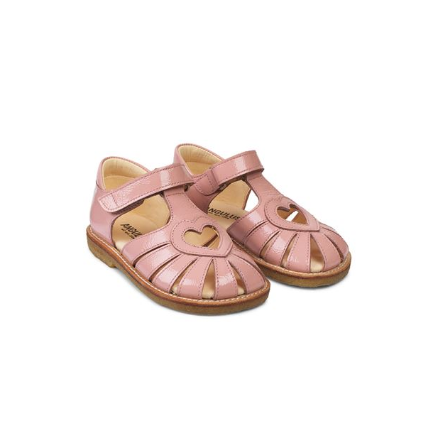 ANGULUS - Sandal med hjerte i lyserød lak