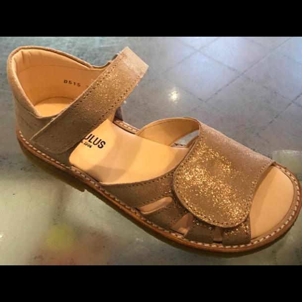 ANGULUS - Sandal med fast bagkappe i kobber glitter..