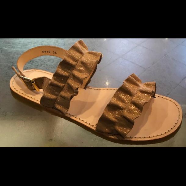 ANGULUS - Sandal med flæse i kobber glitter