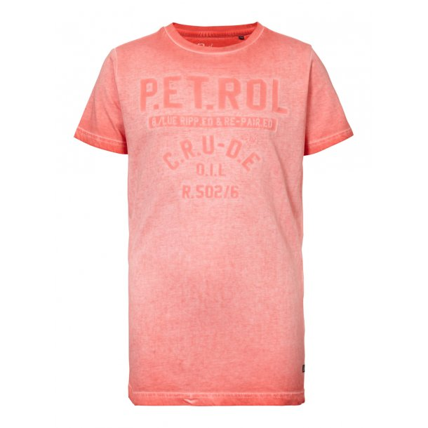 PETROL - T-shirt med print i red coral