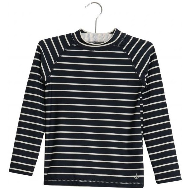 WHEAT - Badebluse i navy strib. Dilan