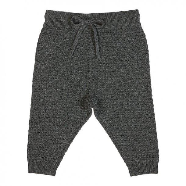 FUB - Bukser med tekstur i mørkegrå uld..