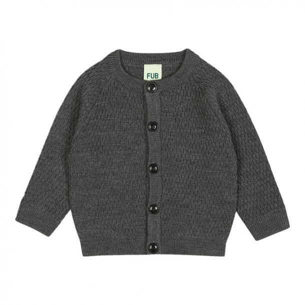 FUB - Cardigan med tekstur i mørkegrå uld