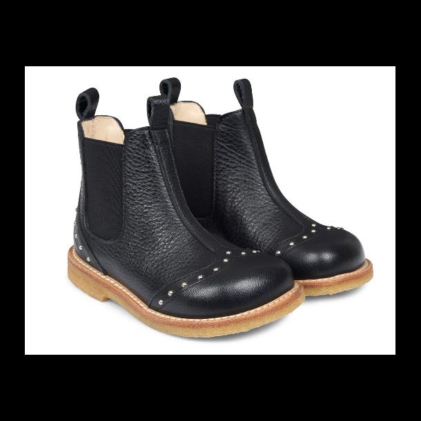 ANGULUS - Chelsea støvle i sort skind med nitter