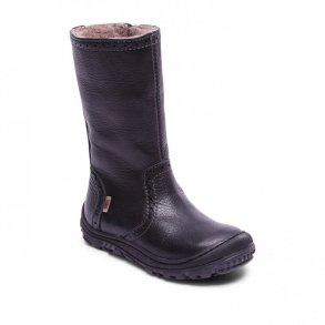 df3287bebf3 BISGAARD - Lang støvle med gummi på snuden i sort med uldfoer og TEX