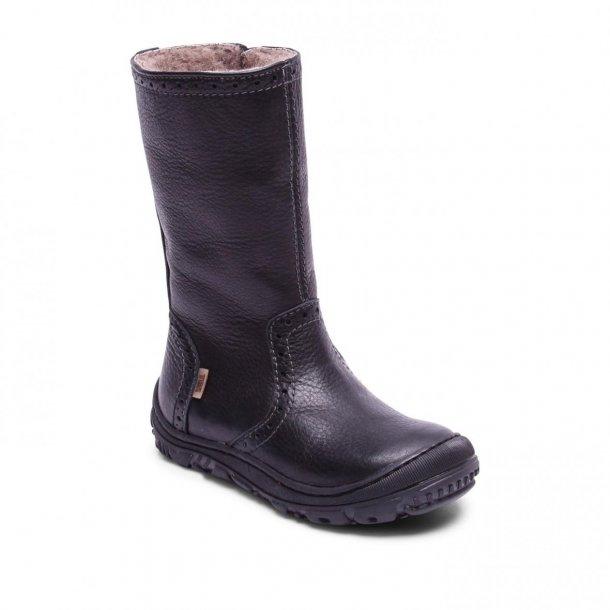 BISGAARD - Lang støvle med gummi på snuden i sort med uldfoer og TEX