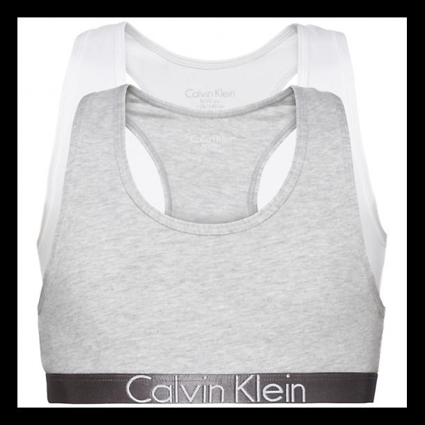 CALVIN KLEIN - 2 Pack top i grå og hvid. Pige