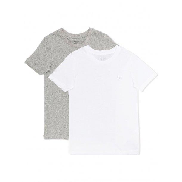 CALVIN KLEIN - 2 Pack t-shirt i grå og hvid