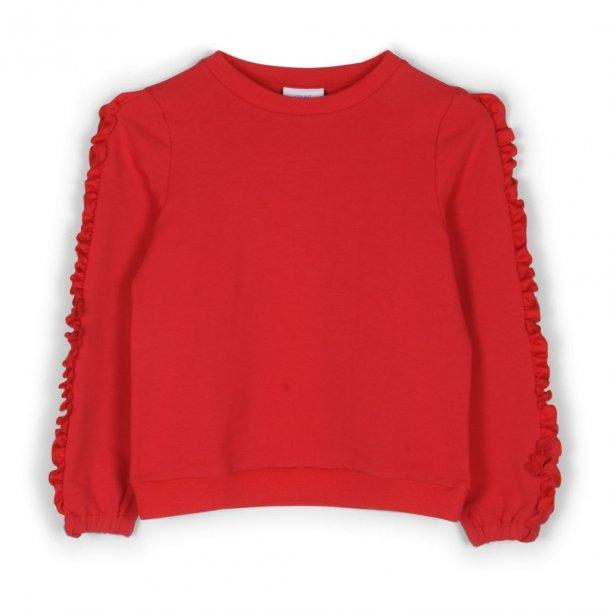 GRUNT - Bluse i rød med flæse på ærme. Unique..