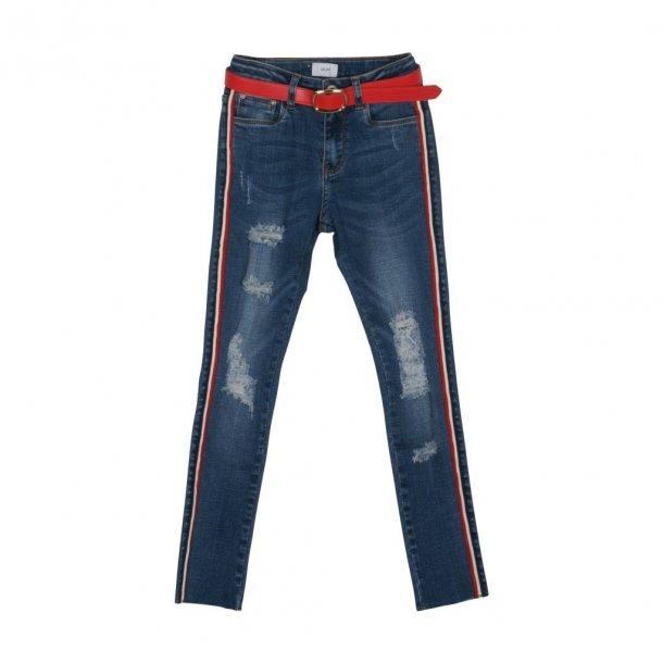 GRUNT - Jeans med stribe i siden. Faith..