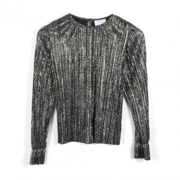 GRUNT - Bluse i antique sølv plisse. Aurora..