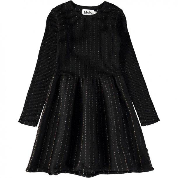 MOLO - Kjole i sort med fine glimmer striber. Cameron..