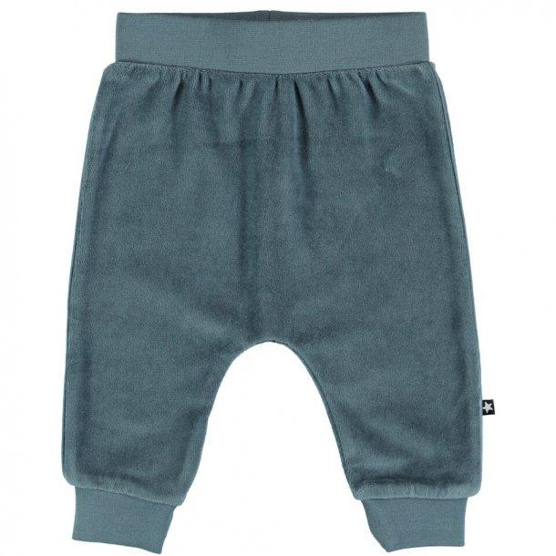 MOLO - Baby velour bukser i gråblå. Steinbjorn..