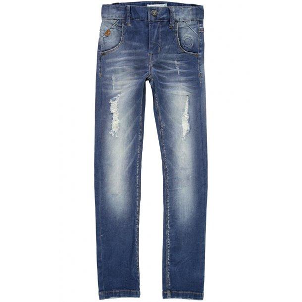 NAME IT - Jeans i blå med slid. 13147907