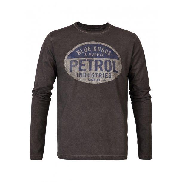 PETROL - Langærmet t-shirt med tryk i grå..