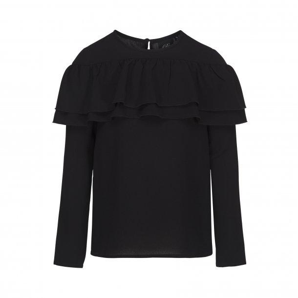 SOFIE SCHNOOR - Skjorte med flæse i sort..