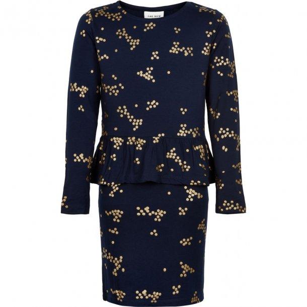 THE NEW - Kjole med skød i blå med guld