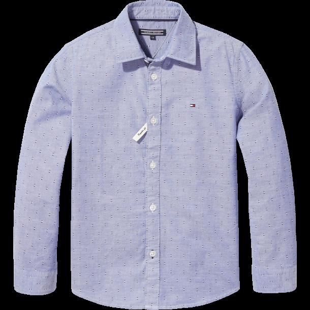 TOMMY HILFIGER - Skjorte i lyseblå med små logoer..