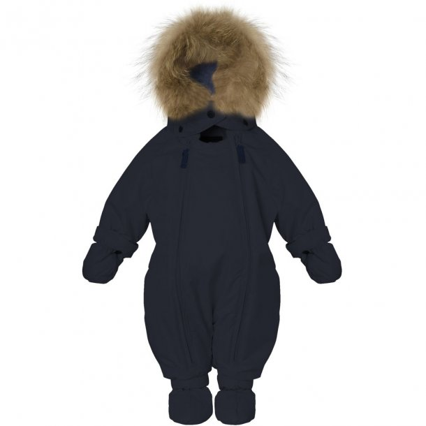 VER DE TERRE - Baby flyverdragt i navy med Saga fur pels