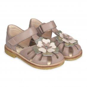 166dc6a9a09 ANGULUS - Sandal lukket model med blomst i rosa