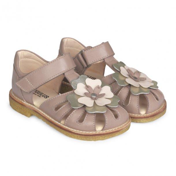 ANGULUS - Sandal lukket model  med blomst i rosa..