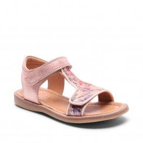 57d59ab419a BISGAARD - Sandal i rose gold med blomsterprint