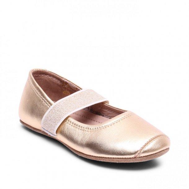 BISGAARD - Ballet hjemmesko i guld skind med glimmer elastik