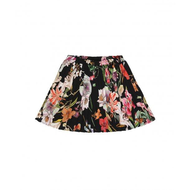 ROHDE - Plisse nederdel i sort med blomster