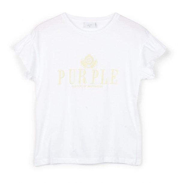 GRUNT - T-shirt i hvid med gul skrift. Sunni