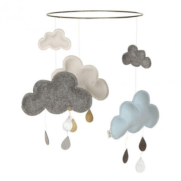 KONGES SLØJD - Uro med skyer i grå-blå