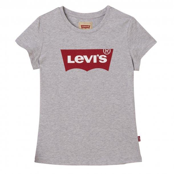 LEVIS - T-Shirt i gråmelange med rødt logo. Pige. Marceau