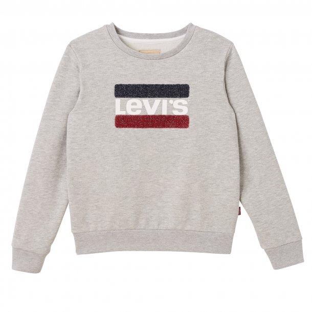 LEVIS - Sweatshirt i grå glimmer med plys logo. Pige. Makao..