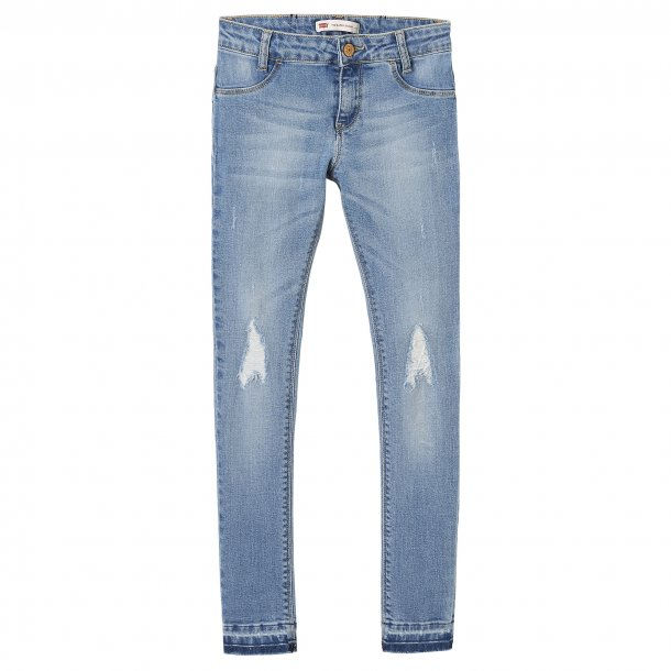 LEVIS - Jeans i lys vask med slid. Pige model 710..