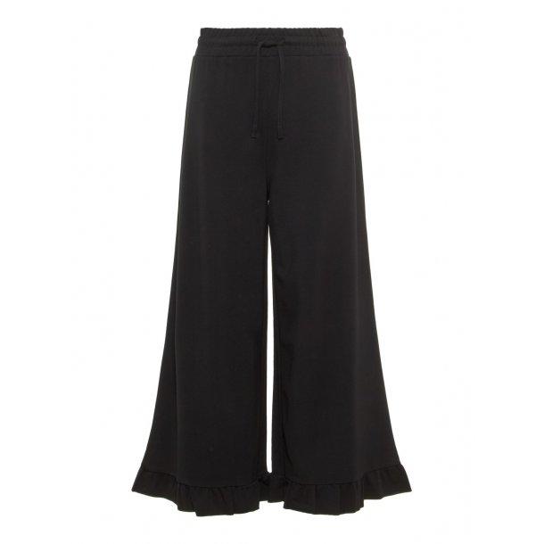 LIMITED - Vide bukser i sorte med flæse ..