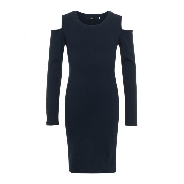 LIMITED - Stram kjole i navy med hul ved skulder