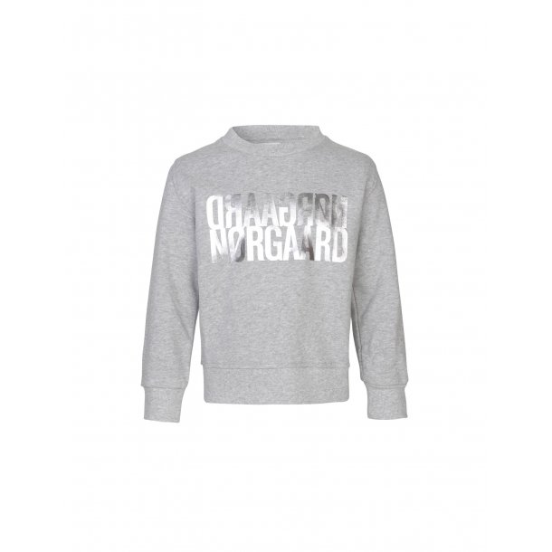 MADS NØRGAARD - Sweat-shirt i gråmelange med sølvtryk. Talinka